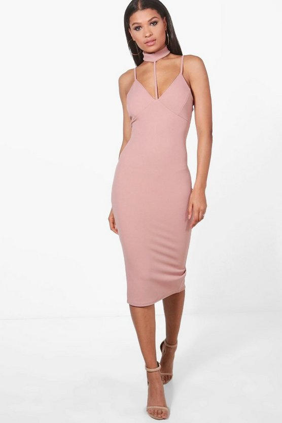 Leah Choker Structured Detail Midi Dress
