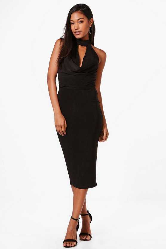 Eva Slinky Cowl Neck Crop & Midi Skirt Co-Ord