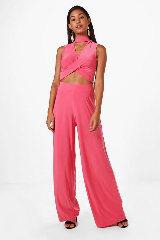 Leah Alinky Wrap Crop & Wide Leg Trouser Co-Ord