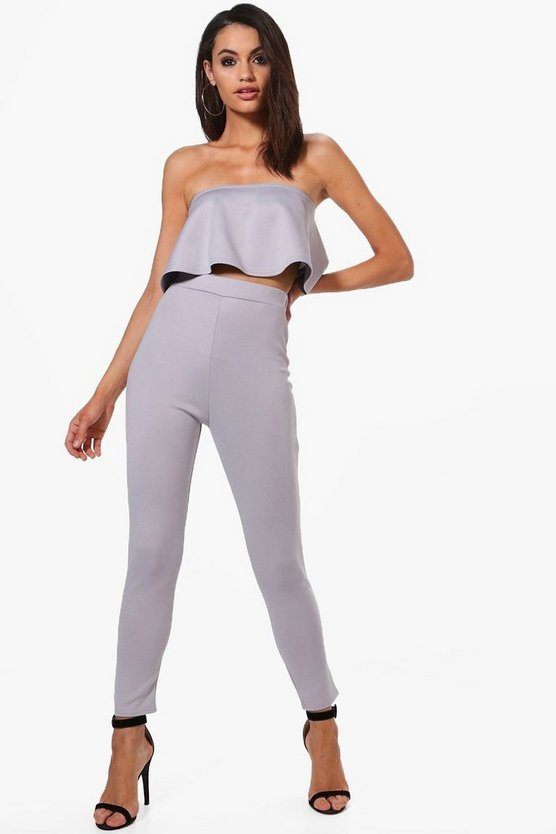 Bella Frill Bandeau Crop & Skinny Trouser Co-Ord