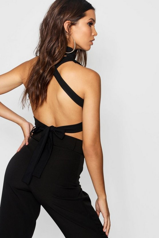 Strappy Back High Neck Crop