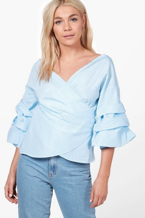 Olivia Gingham Ruffle Tiered Sleeve Wrap Top