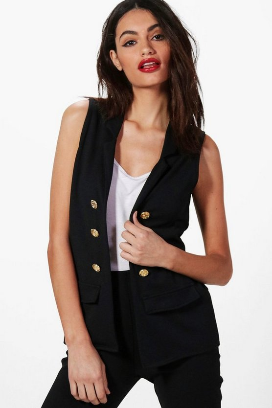 Ella Button Front Sleeveless Blazer