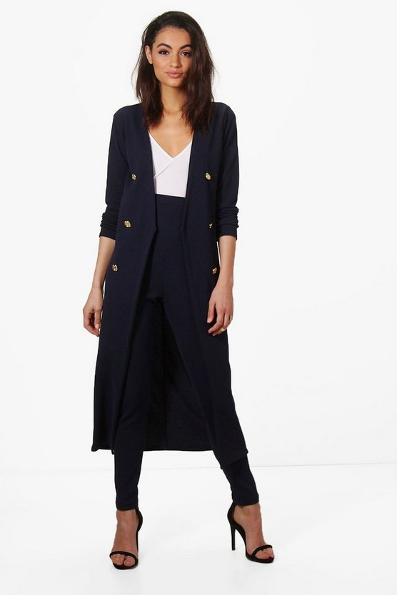 Eva Button Front Longline Duster
