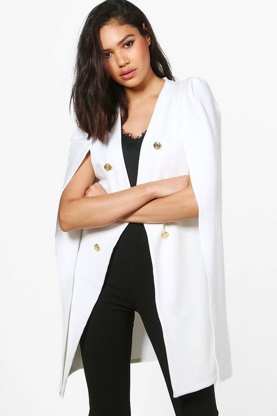 Lois Longline Button Tailored Crepe Cape