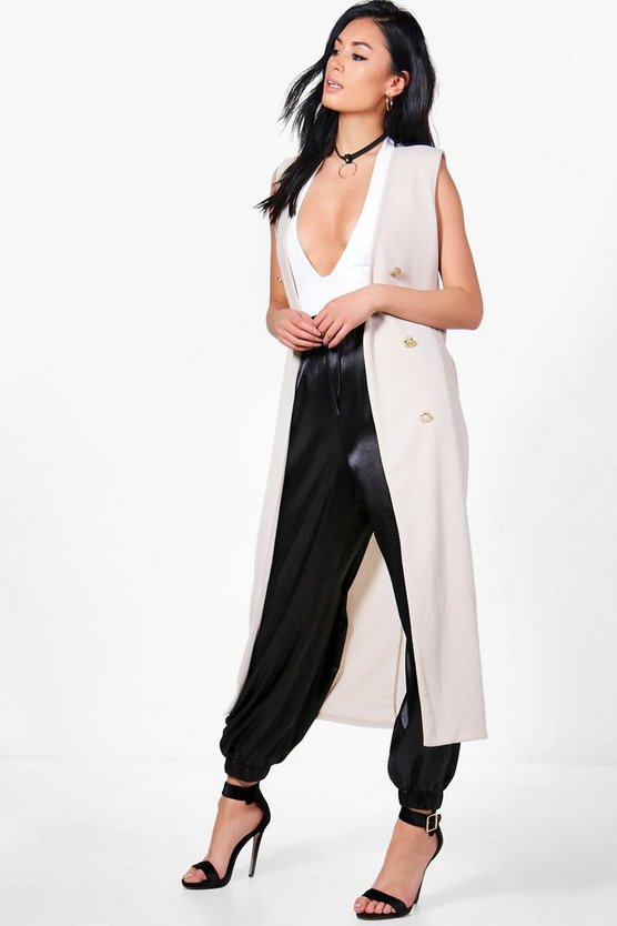 Georgia Sleeveless Button Front Longline Duster