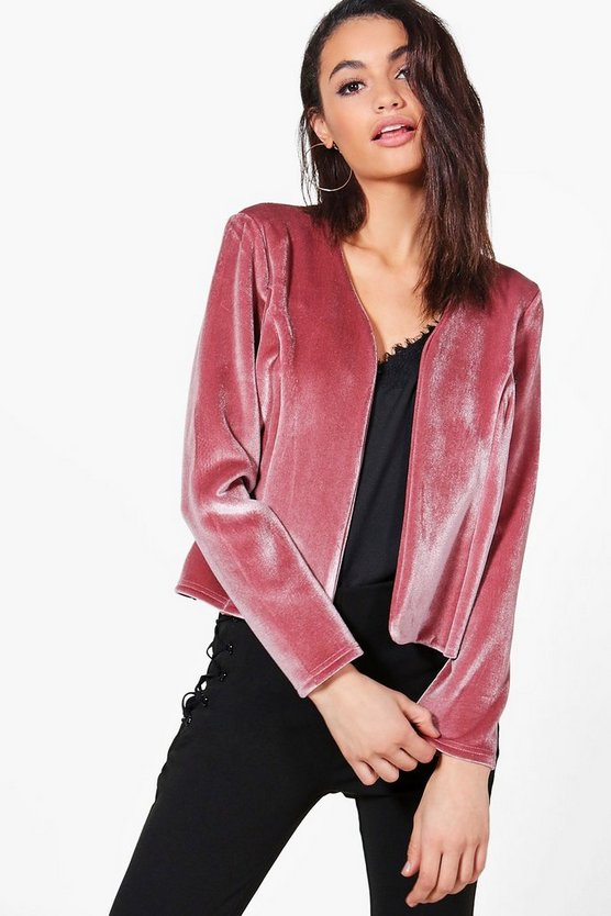 Zoe Velvet Edge To Edge Jacket