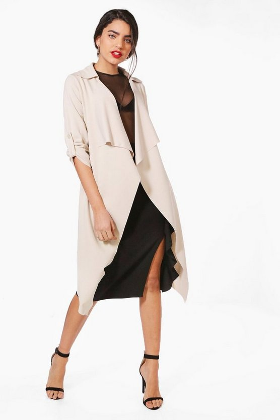 Jenna Waterfall Belted Duster Jacket