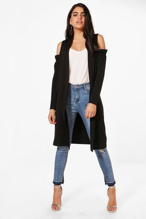 Zoe Cold Shoulder Ruffle Duster