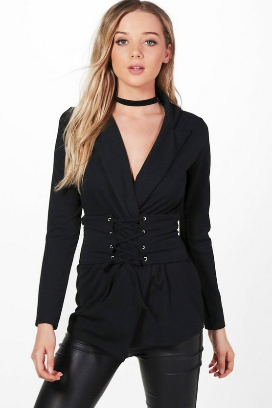 Mary Detachable Corset Belted Blazer