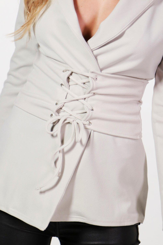 Boohoo-Mary-Blazer-Con-Cintura-A-Corsetto-Staccabile-per-Donna