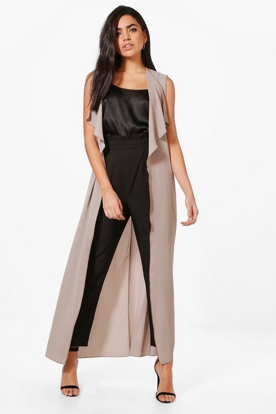 April Maxi Waterfall Sleeveless Duster