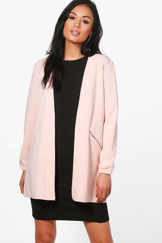 Anna Zip Detail Collarless Duster