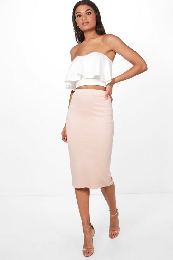Amy Contrast Frill Bandeau & Midi Skirt Co-Ord Set