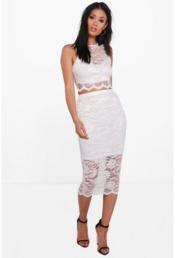 Lily Lace Scallop Crop & Midi Skirt Co-Ord Set