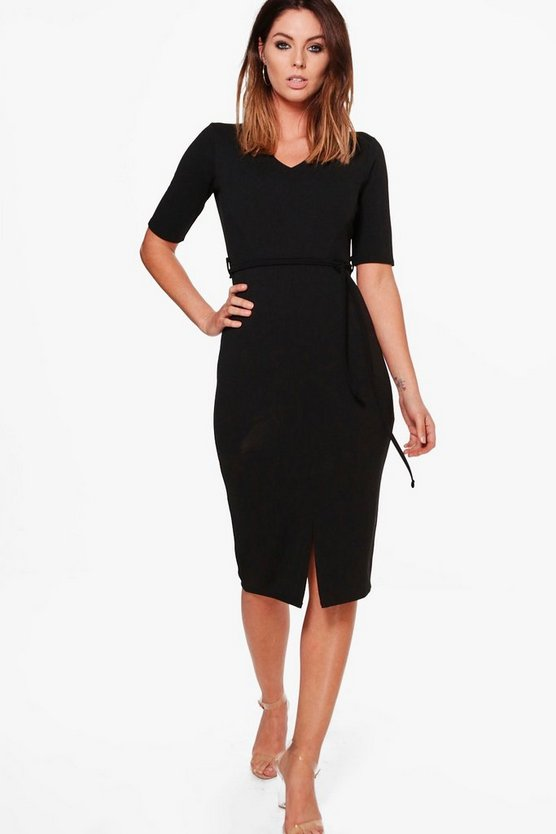 Tamara Tie Waist V-Neck Midi Dress