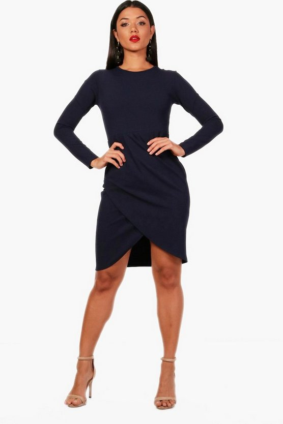 Christina Pleat Front Long Sleeve Midi Dress