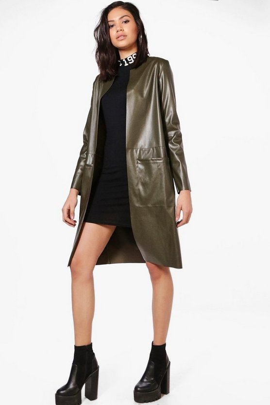 Jenna Vegan Leather Edge To Edge Jacket