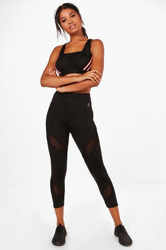 Leah Fit Mesh insert capri Running Leggings