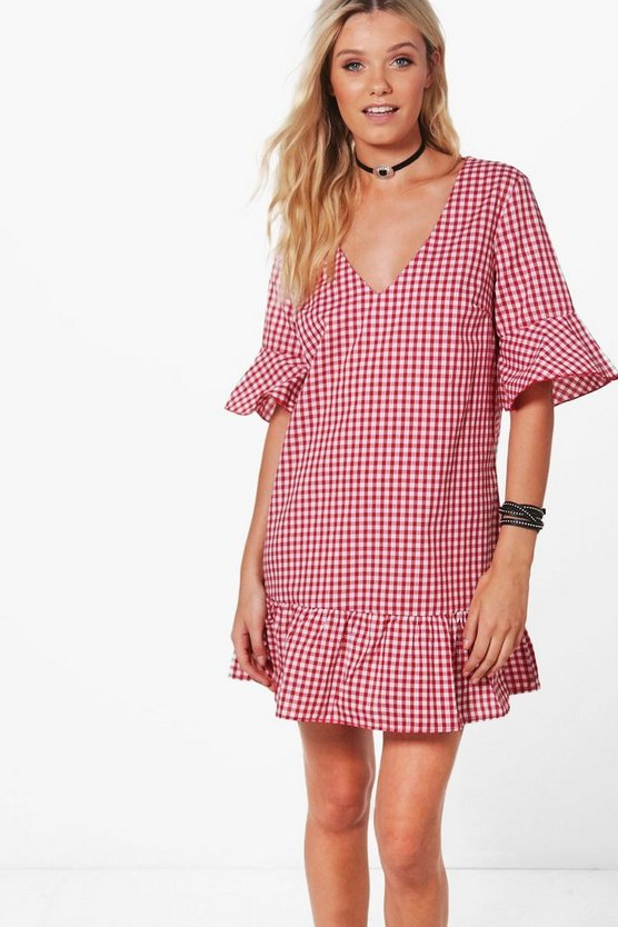 Amy Gingham V Neck Ruffle Hem Shift Dress