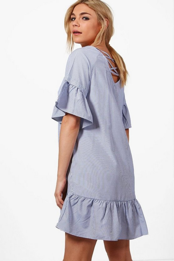 Willow Cross Back Ruffle Hem Shift Dress