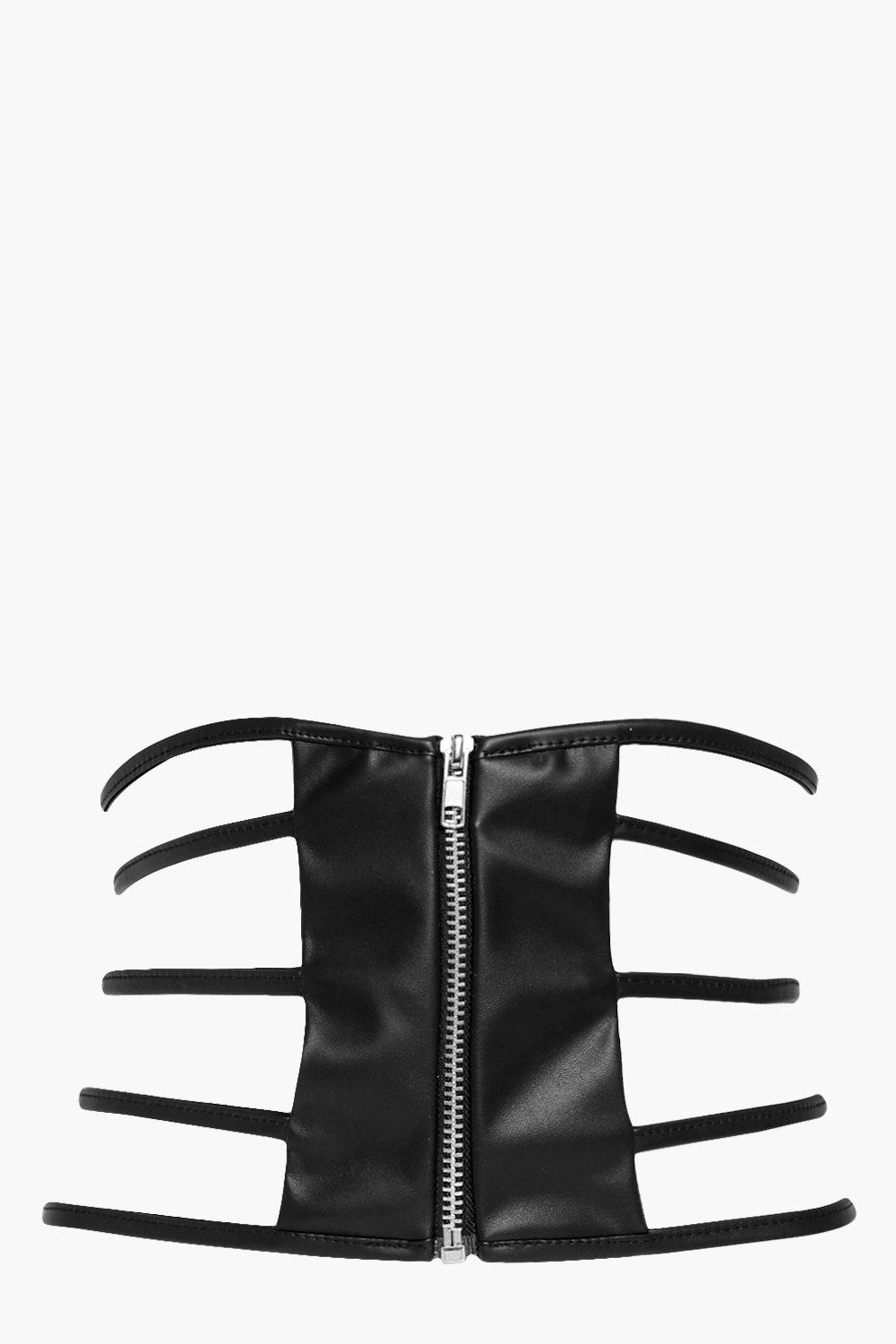 Strappy Zip Front Waist Belt - black - Holly Strap