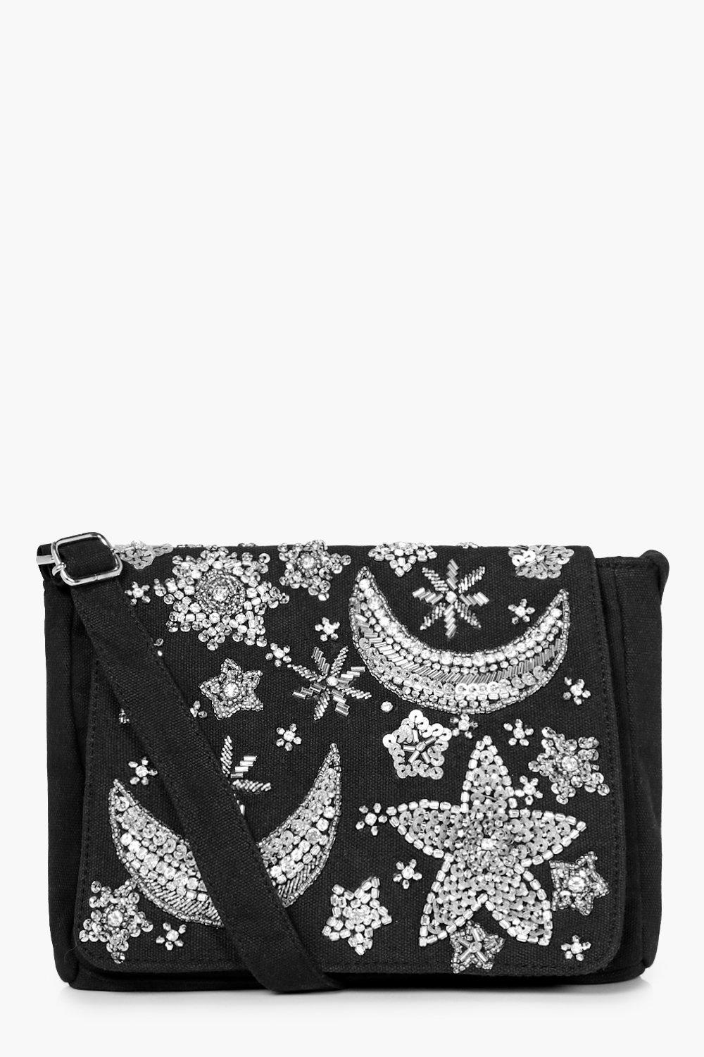 Moon & Stars Embellished Cross Body - black - Dais