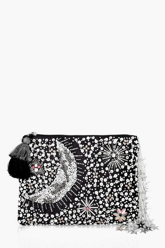 Maisie Embellished Moon & Stars Clutch Bag