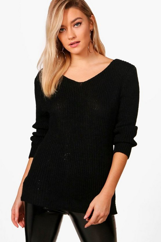Emily Rib V-Neck Jumper