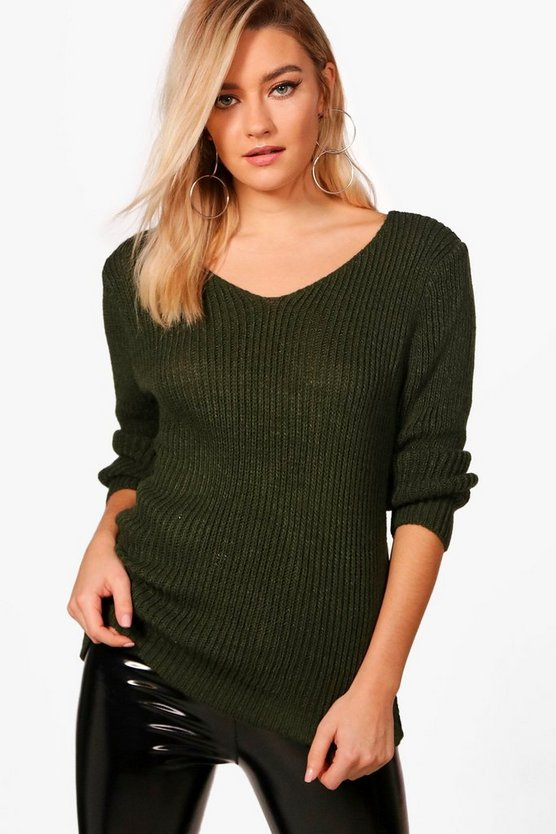 Rib V-Neck Jumper