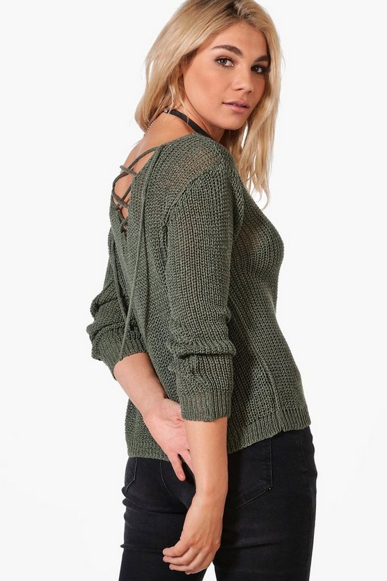 Francesca Lace Up Back Slouchy Jumper