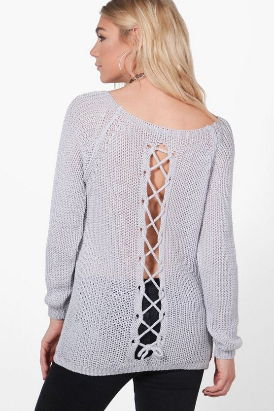 Frances Lace Up Back Slouchy Jumper