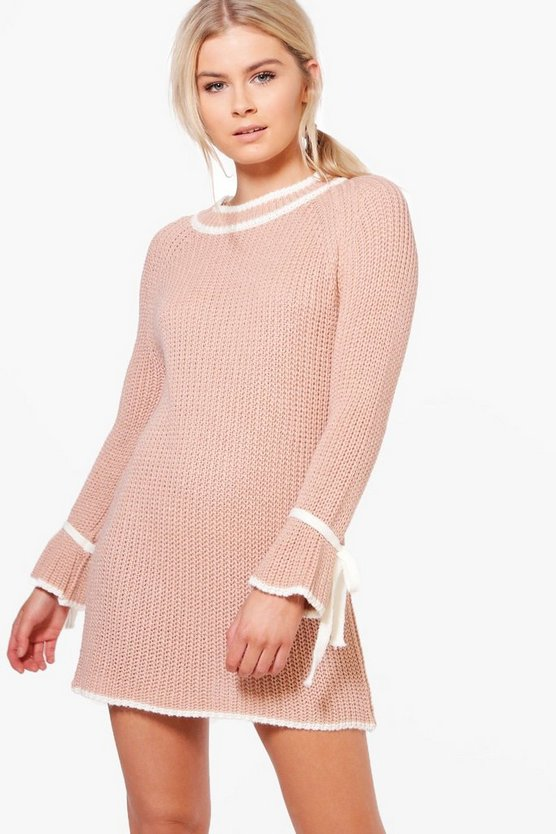 Justine Tie Sleeve Contrast Jumper Dress