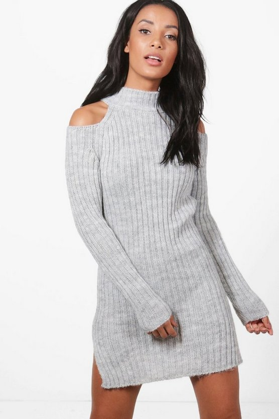 Cold Shoulder Rib High Neck Jumper Dress