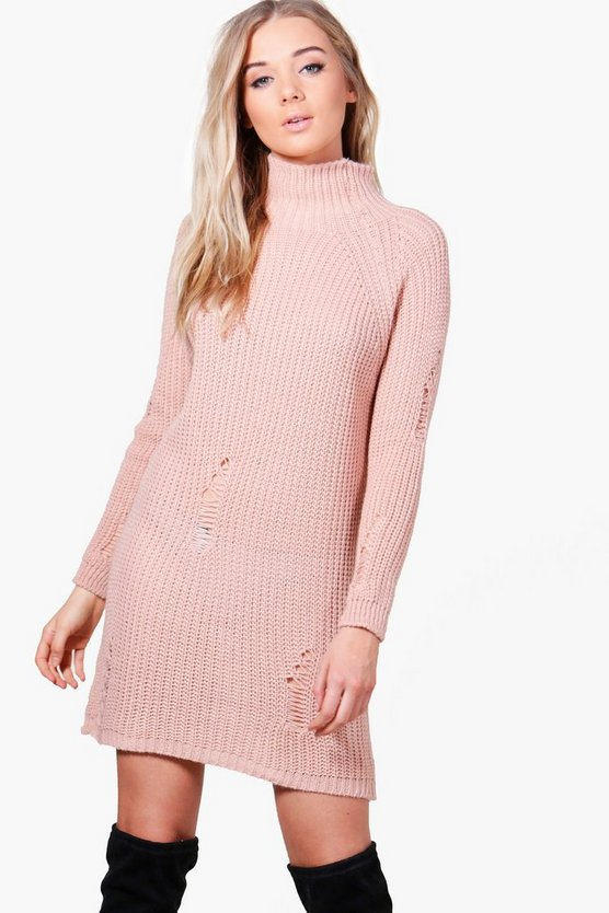 Sarah Distressed High Neck Jumper Dress