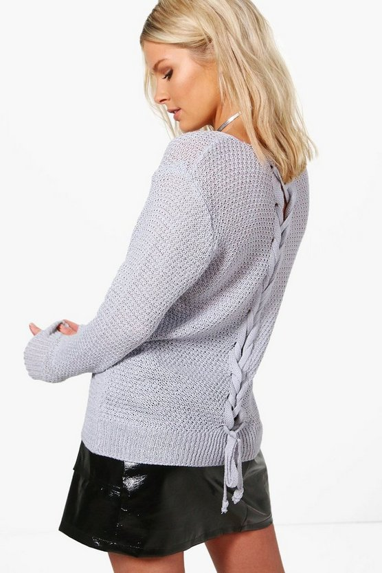 Olivia Lace Up Back Jumper