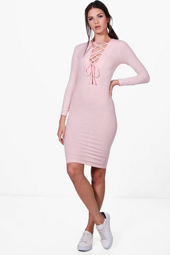 Jessica Lace Up Rib Knit Midi Dress