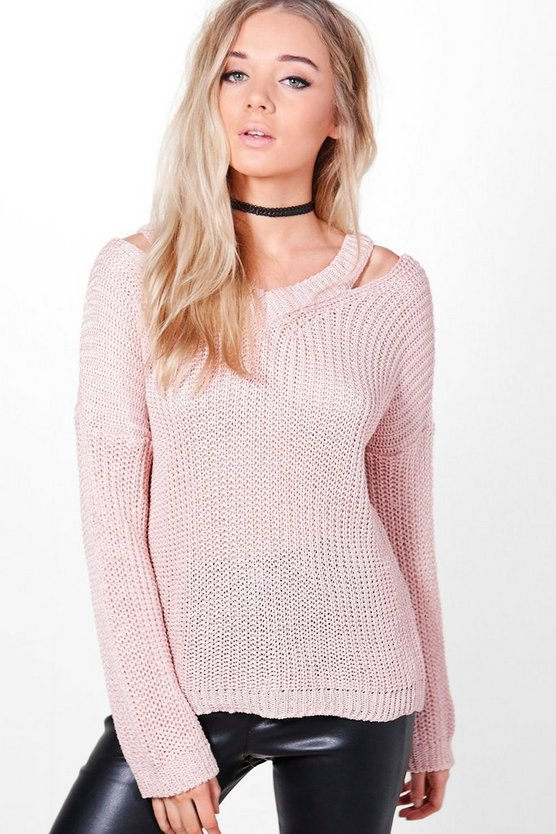 Grace Slit Shoulder Slouchy Jumper