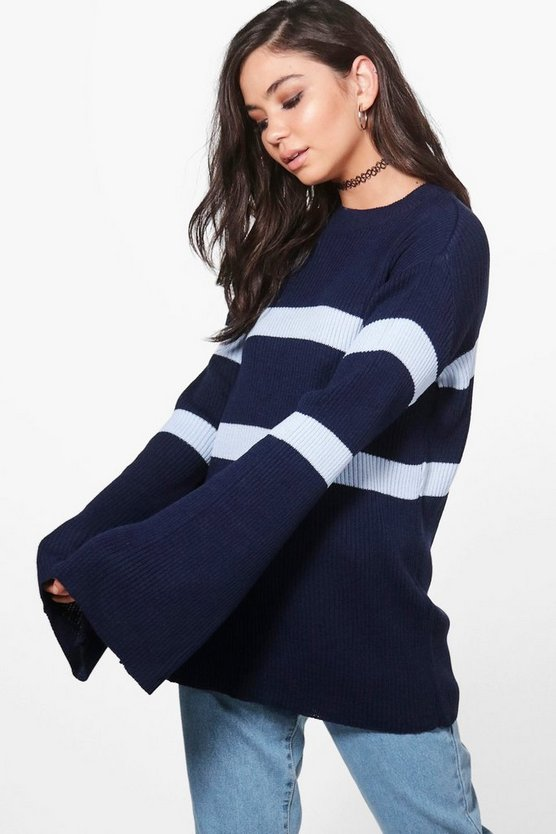 Elise Stripe Wide Sleeve Jumper