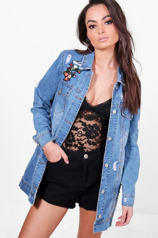 Mya Longline Studded Embroidered Denim Jacket