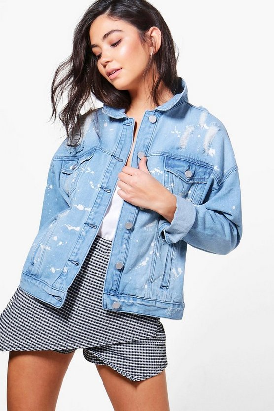 Lisa Paint Splatter Distressed Denim Jacket