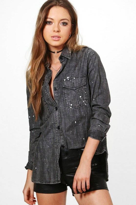 Faye Paint Splatter Oversize Denim Shirt