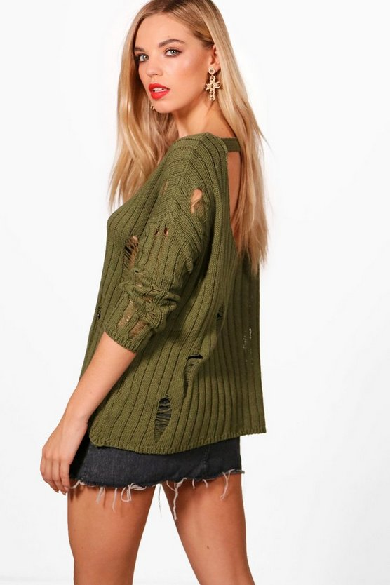 Distressed Open Back Jumper