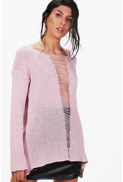 Ashley Distressed Open Front Jumper