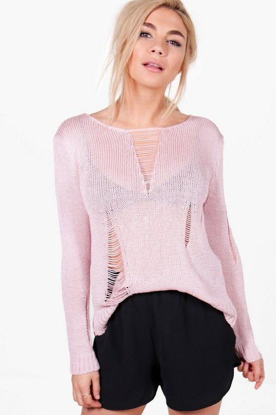 Eve Distressed Open Knit Jumper
