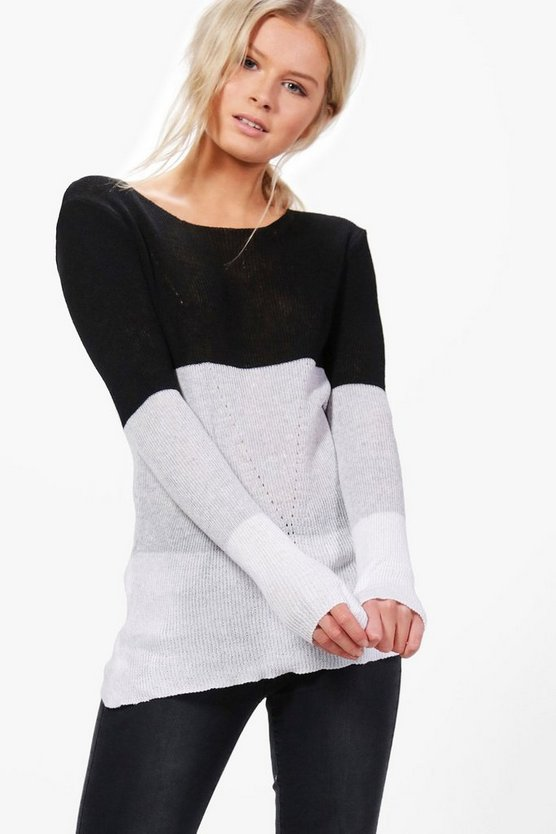 Tara Colourblock Fine Knit Jumper