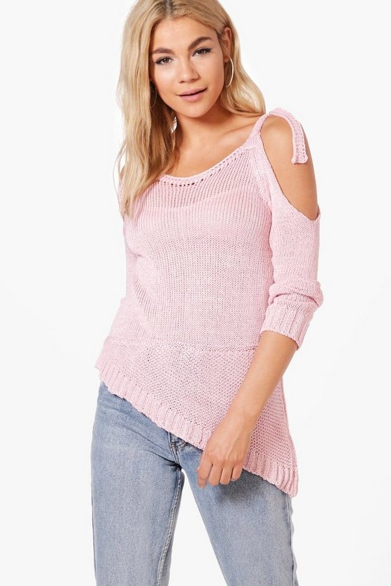Carla Tie Sleeve Cold Shoulder Jumper