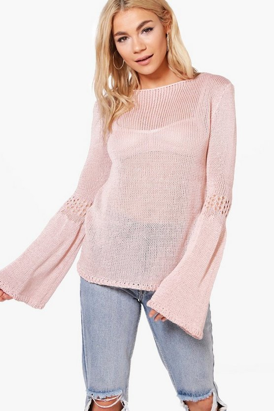 Erica Flared Sleeve Loose Knit Jumper