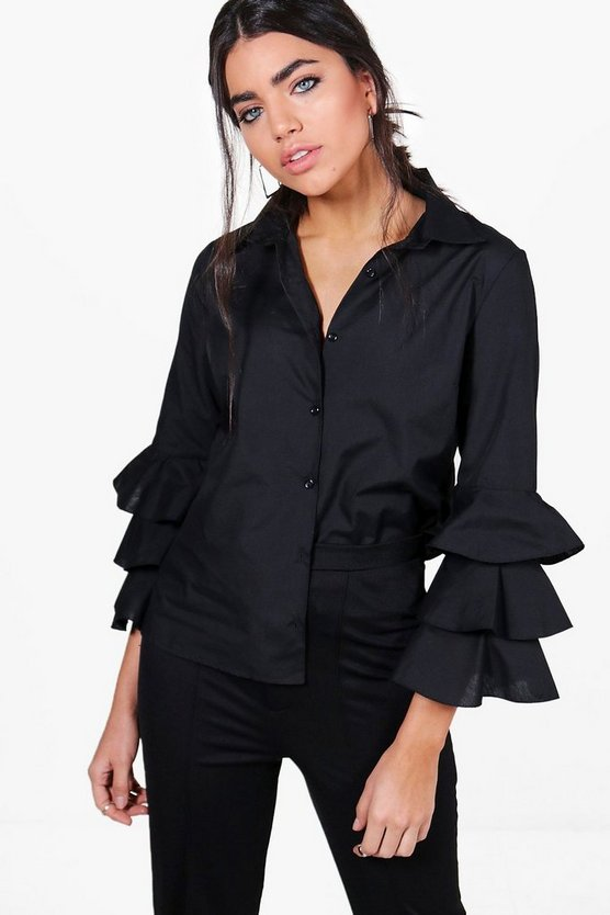 Stacey Ruffle Sleeve Shirt