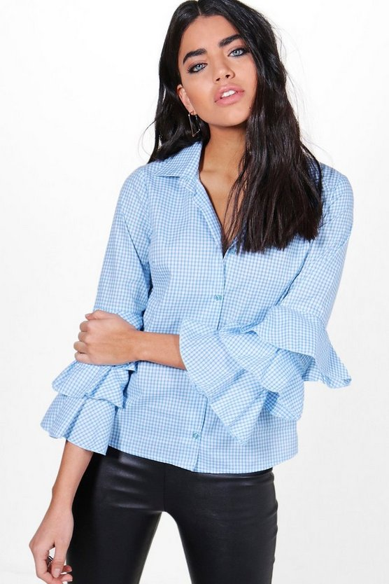 Ella Gingham Ruffle Sleeve Shirt